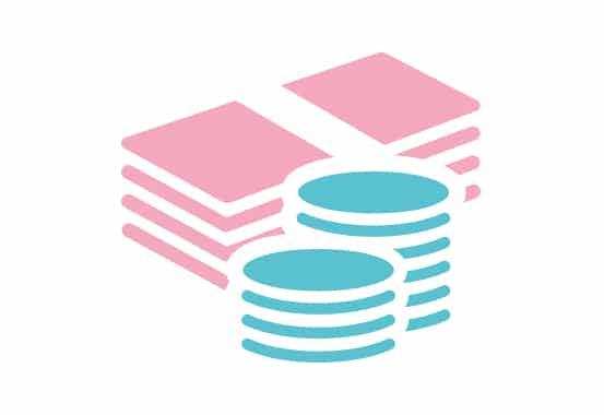 Ikoner av en rosa bunt sedlar och två travar med ljusblå mynt.