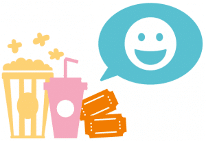 Ikoner av popcorn, läsk och biobiljetter, samt en pratbubbla med en en glad emoji i.