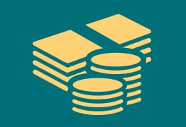 Ikon av bunt med sedlar som syhmbol för inkomstbaserad ersättning från a-kassan.