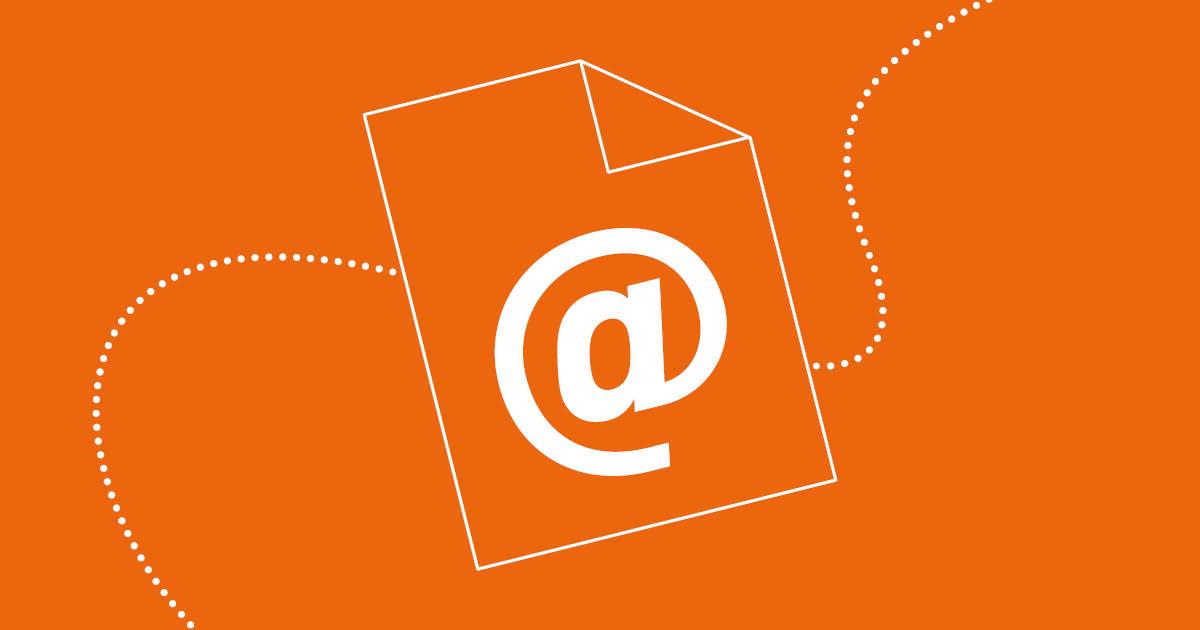 Illustration av ett pappersark med ett snabel-a på mot orange bakgrund