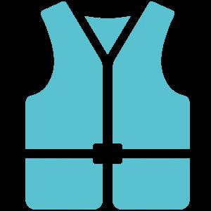En ikon som föreställer en ljusblå flytväst.