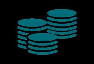 Ikon av tre högar med mynt som symbol för grundersättning från a-kassan.
