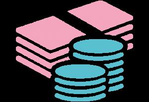 Ikon av sedlar och mynt i rosa och blått som symbol för inkomstförsäkring.
