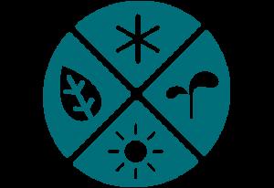 En cirkel som symbol för ett år. Den är uppdelalad i fyra lika stora bitar med en symbol för en årstid på varje bit.