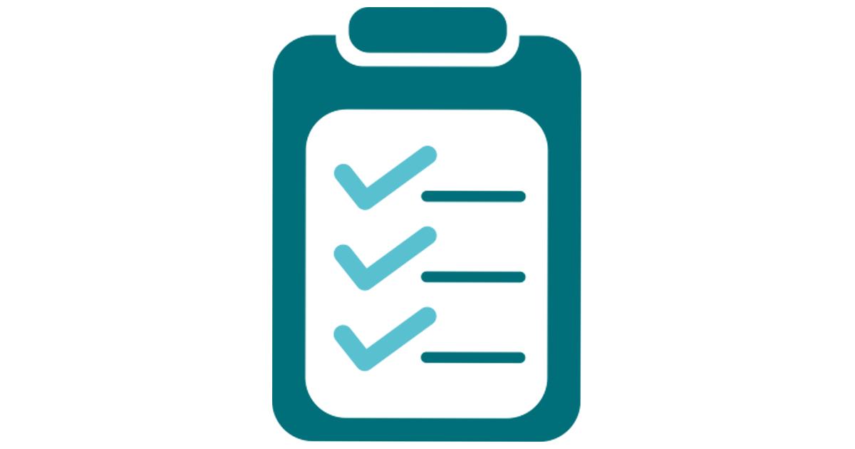 En checklista, med tre förbockade punkter.