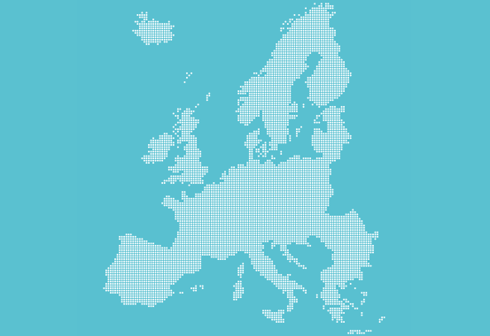 Ljusblå bakgrund med Europakarta i vitt.