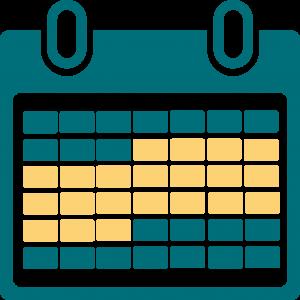 Grafisk bild av ett kalenderblad, där tre veckor är markerade.