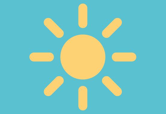 Gul sol på ljusblå himmel